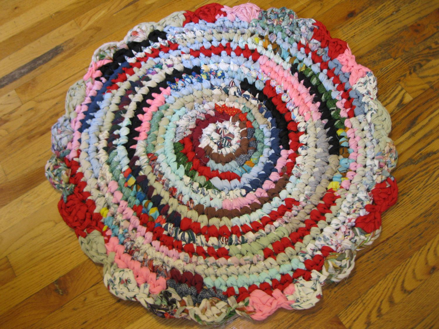 Items Similar To Rag Rug Round Multi Color Handmade Crochet Shabby Cottage Primitive Accent Bed Bath Kitchen On Etsy