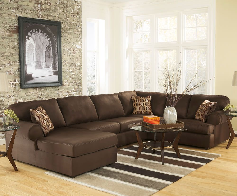Amazing Brown Microfiber U Shaped Sectional Sofa Design