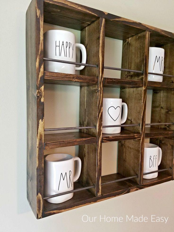 How to Build a Rae Dunn Mug Holder for Cheap! Diy home