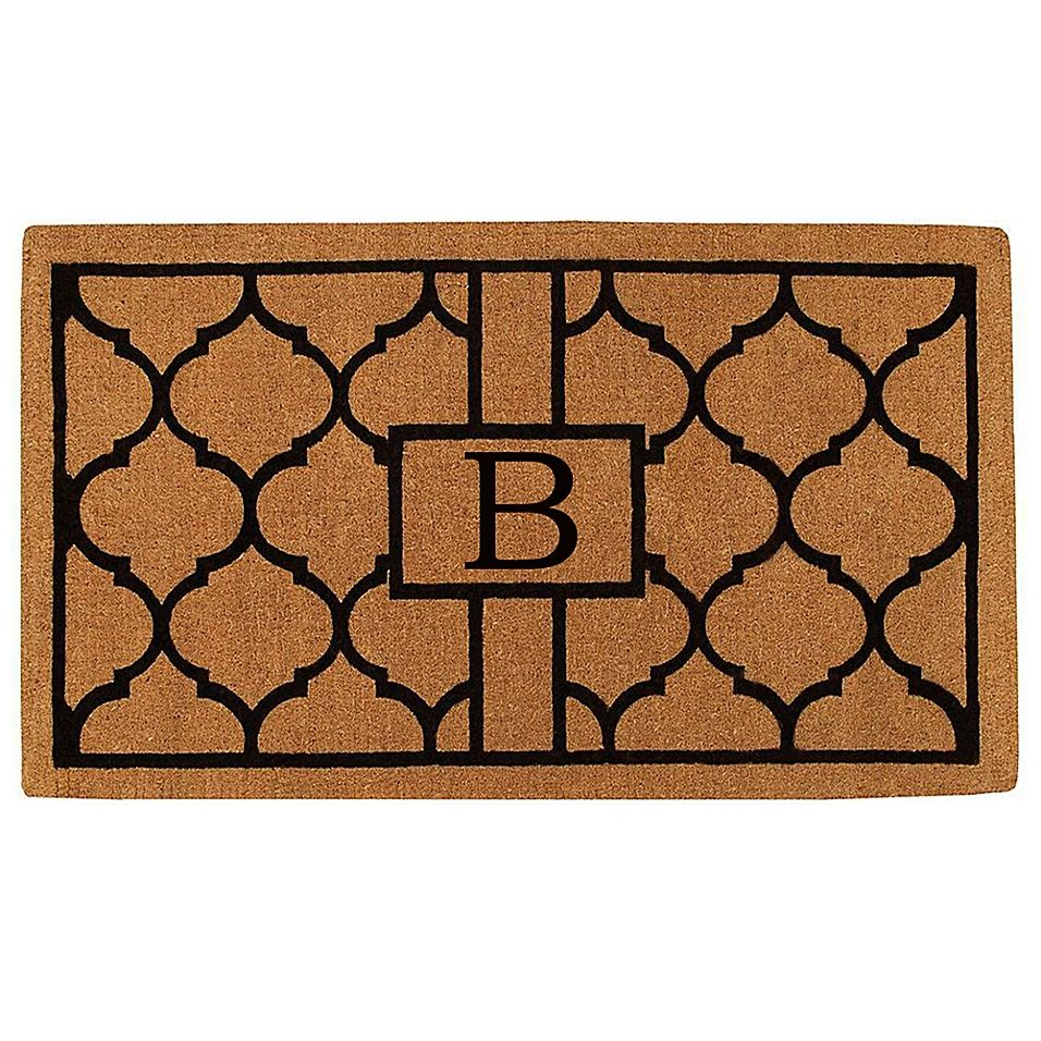 Home More Pantera Monogrammed B 36 X 72 Thick Door Mat In Natural Black Monogram Door Mat Outdoor Door Mat Door Mat