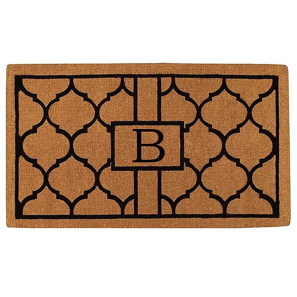 Home More Pantera Monogrammed B 36 X 72 Thick Door Mat In Natural Black Monogram Door Mat Outdoor Door Mat Door Mat