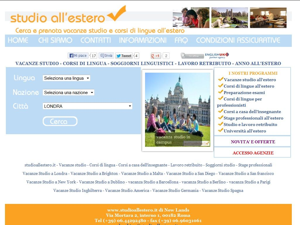 Studioall\'estero di New Lands, partner english uk ente del britsh ...