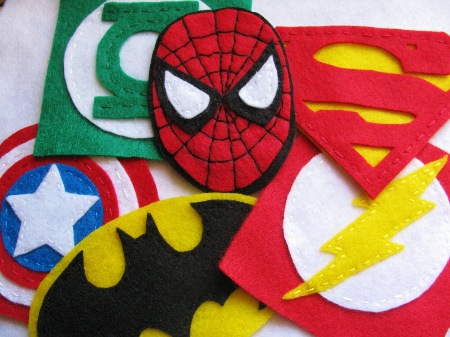 $30 for 6 - Large Felt Superhero Super Patches by TheWannaBeCrafter on Etsy, via Etsy.