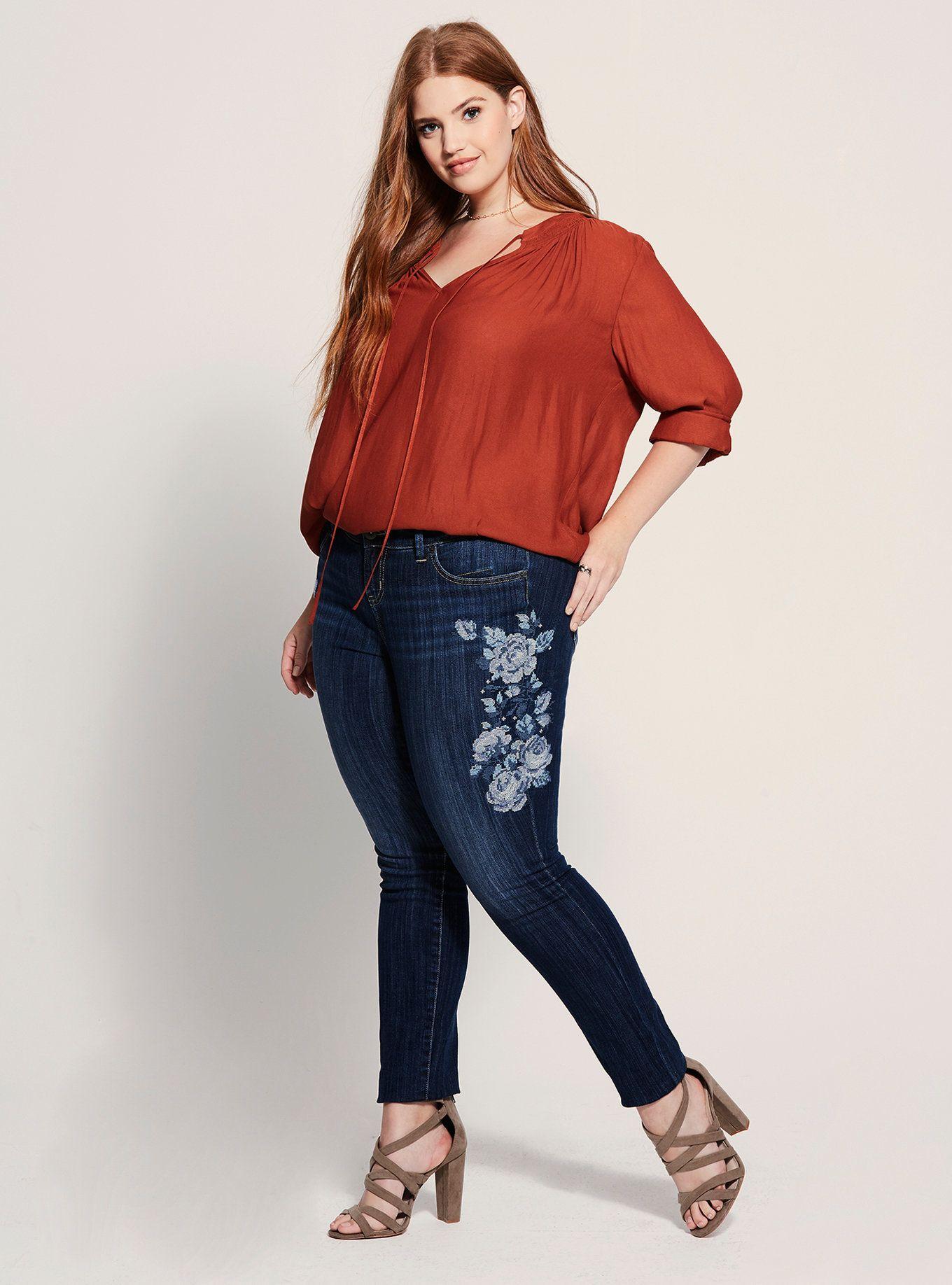 Floral embroidered skinny jean dark wash in 2021