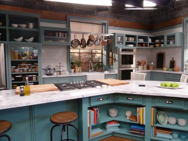 The Kitchen Food Network Set On The Set Of The Kitchen  Teal Cabinets Kitchens And Kitchen Sets