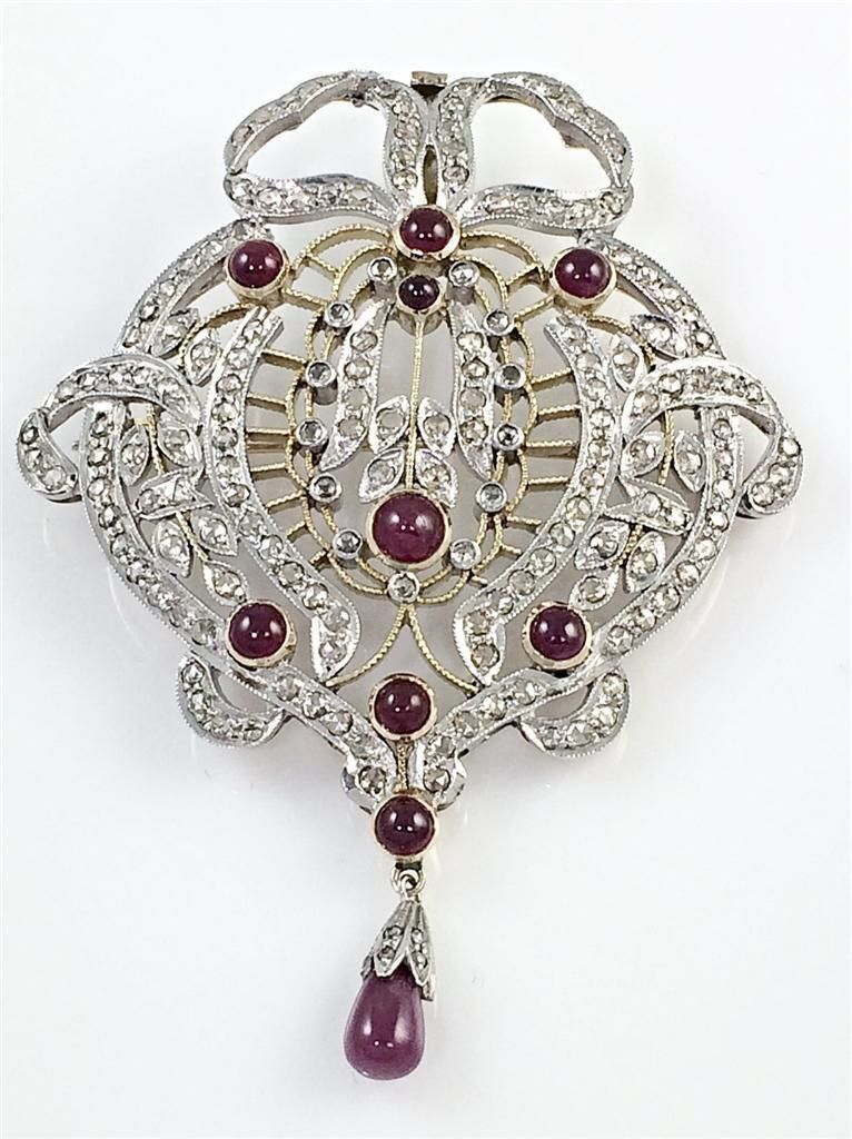 Estate Victorian 3 38 Carat Rose Cut Diamond Ruby Antique Brooch Pendant | eBay