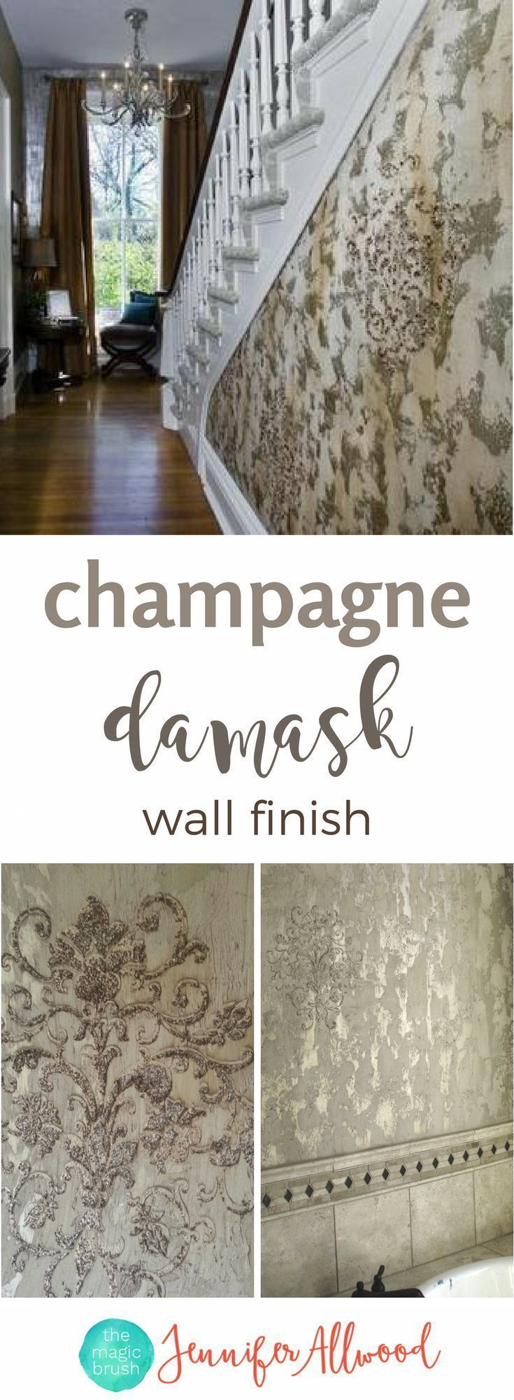 Info's : Learn to paint this Gorgeous Champagne Damask Wall Finish as an accent wall in bathrooms and bedrooms. It's rich faux finish that combines metallic/glitter, texture and stencil. Painting Tips & Tutorials by Jennifer Allwood of themagicbrushinclcom | Feature Wall Ideas + Accent Wall + Focal Wall #painting #paintfinishes #wallfinishes #homedecor #DIY #DIYhomedecor
