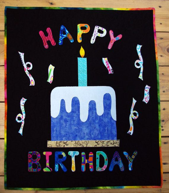 Happy Birthday Art Quilt Wall Hanging Banner By