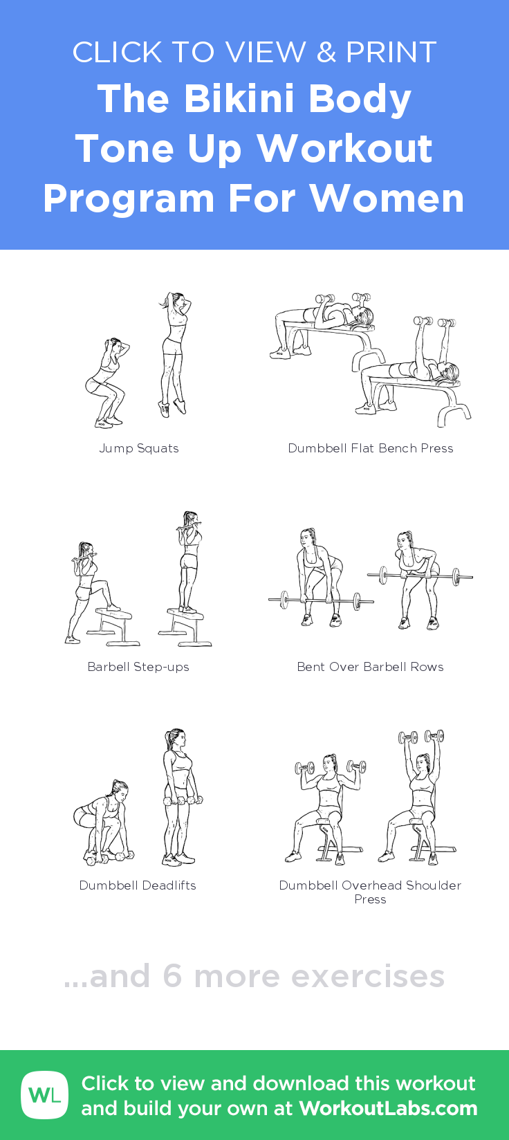 The Body Tone Up Workout Program For Women Click To View And Print This Ilrated Exercise Plan Created With Workoutlabsfit