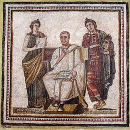 Virgilio con l'Eneide, tra Clio e Melpomene. Museo Nazionale del Bardo, Tunisi