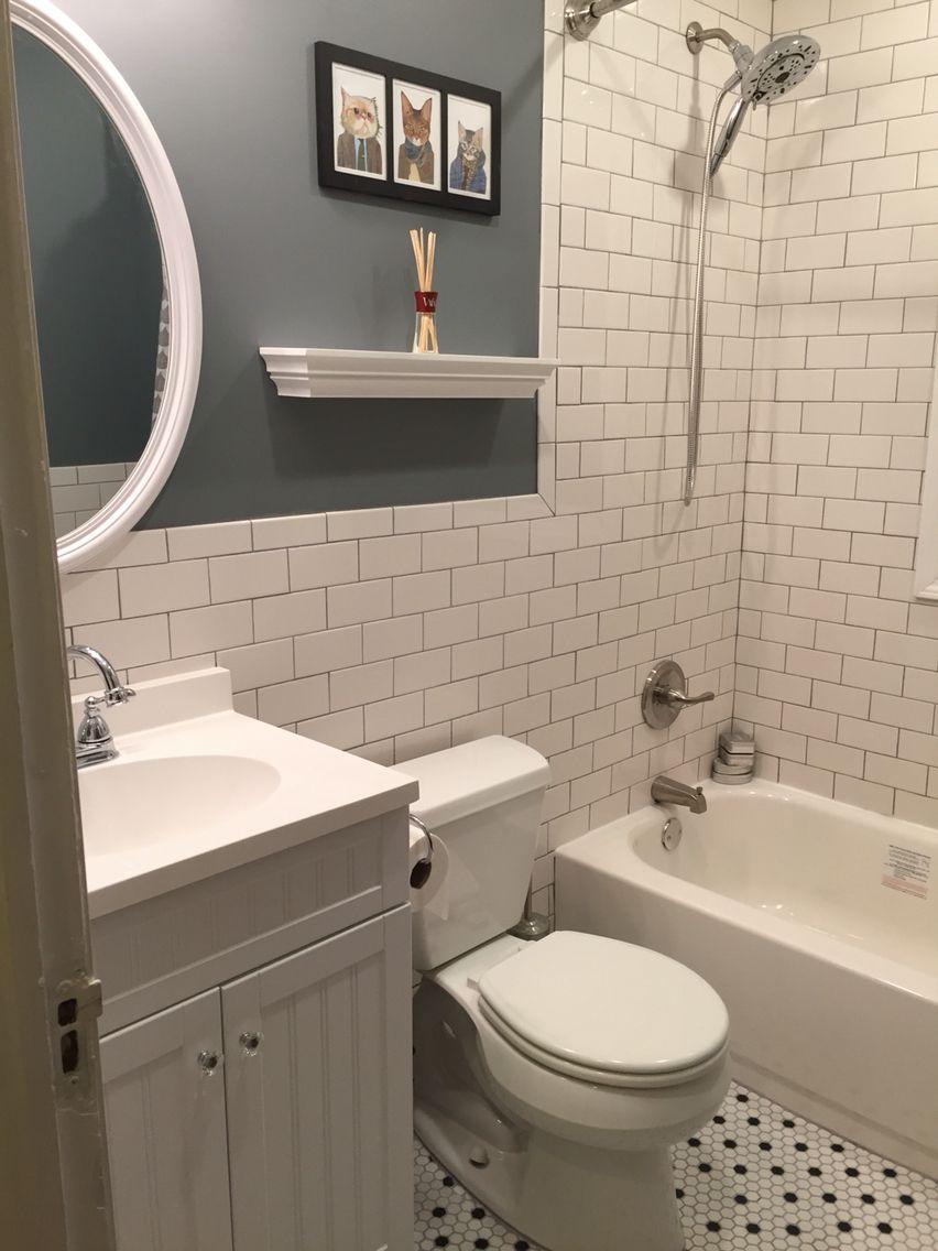 Bathroom Rehab 1930 S White Subway Tile And Honeycomb Floor Bathroom Rehab Bathroom White Subway Tile