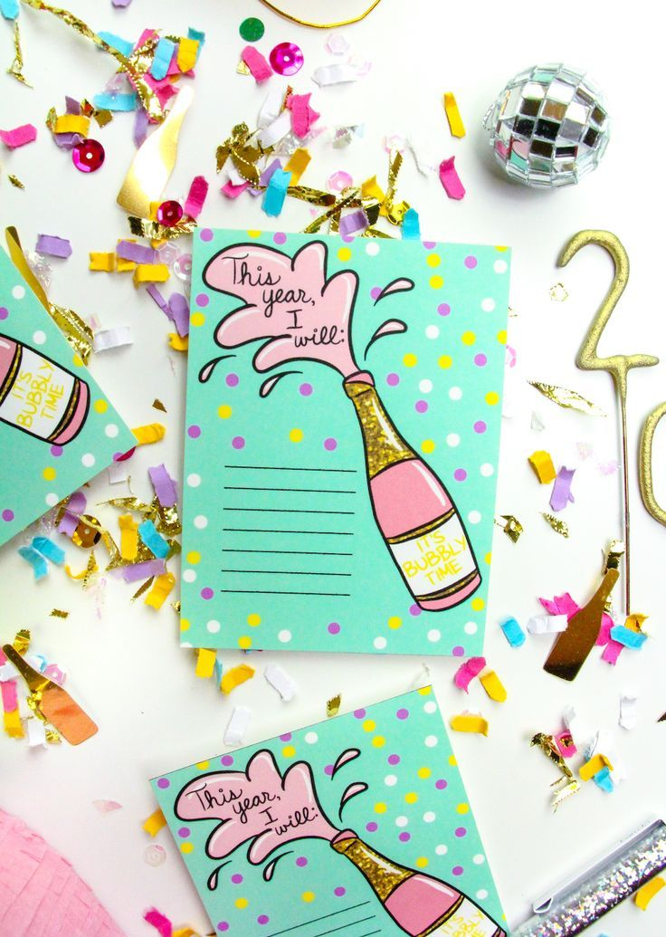 Free Printable New Years Resolution Cards Diy gifts