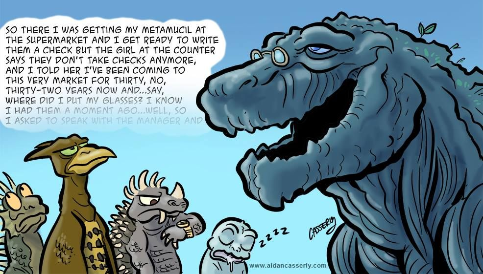 Cartoon based on Godzilla's 'new look' for GODZILLA