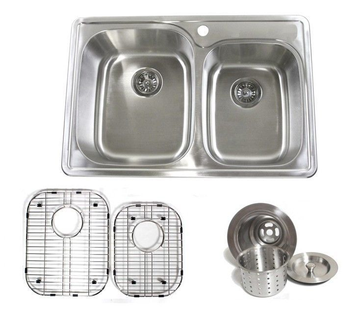 195 Obo Includes Sink Grids And Strainer Ariel 33 Inch Stainless Steel Top Mount 60 40 Double Bowl Kitchen Sink Double Bowl Kitchen Sink Kitchen Sink Sink