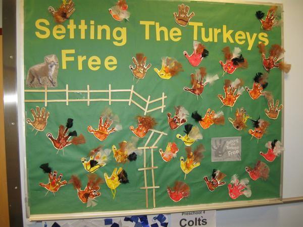 Setting the Turkeys Free - Thanksgiving Bulletin Board Idea #novemberbulletinboards