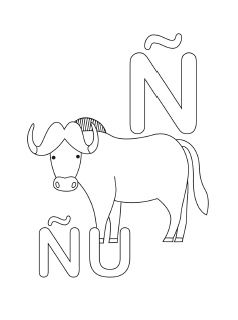 spanish alphabet coloring page n - Spanish Alphabet Coloring Pages