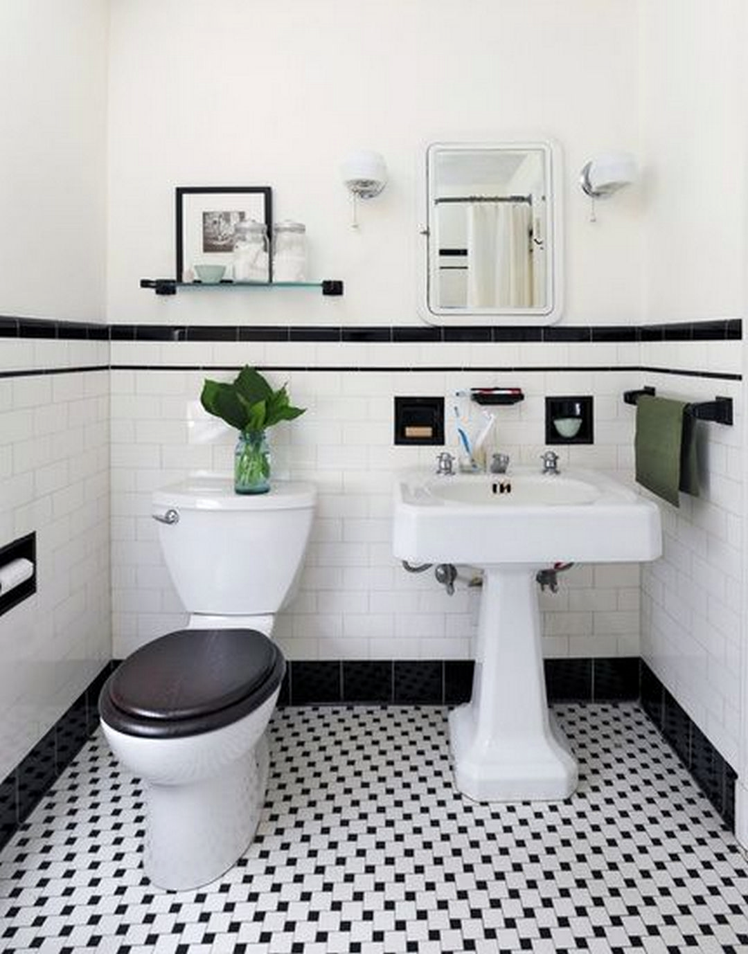 black and white bathroom floor