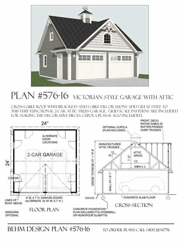 Victorian Style 2 Car Garage Plan No 51616 by Behm Design