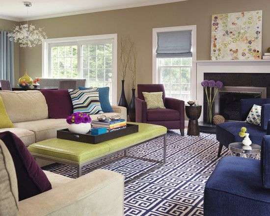 Living Room Blue Green Purple Design Pictures Remodel Decor And