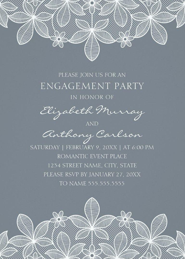 Unique Lace Engagement Party Invitations - Elegant Country Cards ...