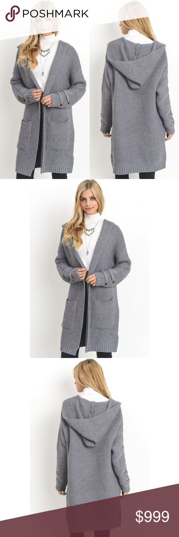 Long Chunky Knit Sweater Coat New Grey S M L Boutique | Hand ...