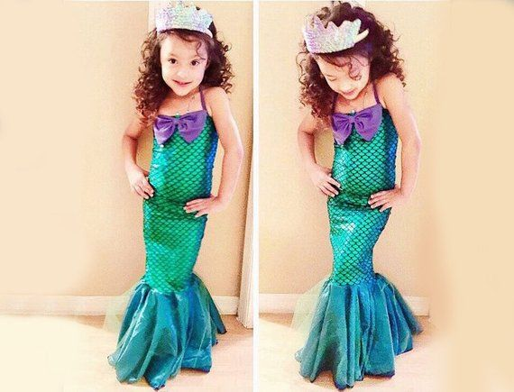 31a0f6a687f23 Mermaid tail princess Ariel dress cosplay costume kids for girl ...