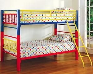metal bunk bed yellow blue and red - Bunk Beds Metal Frame
