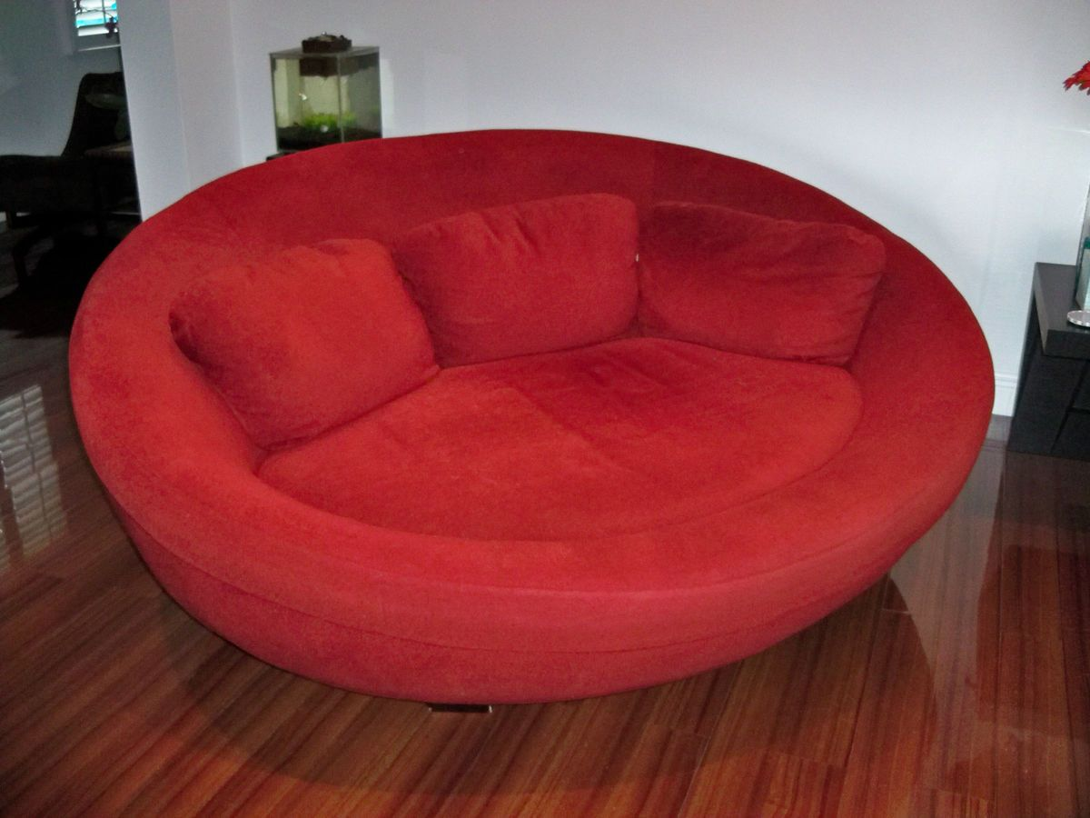 Large Red Cellini Ufo Sofa Oval Round Cloth Couch Loveseat Chair