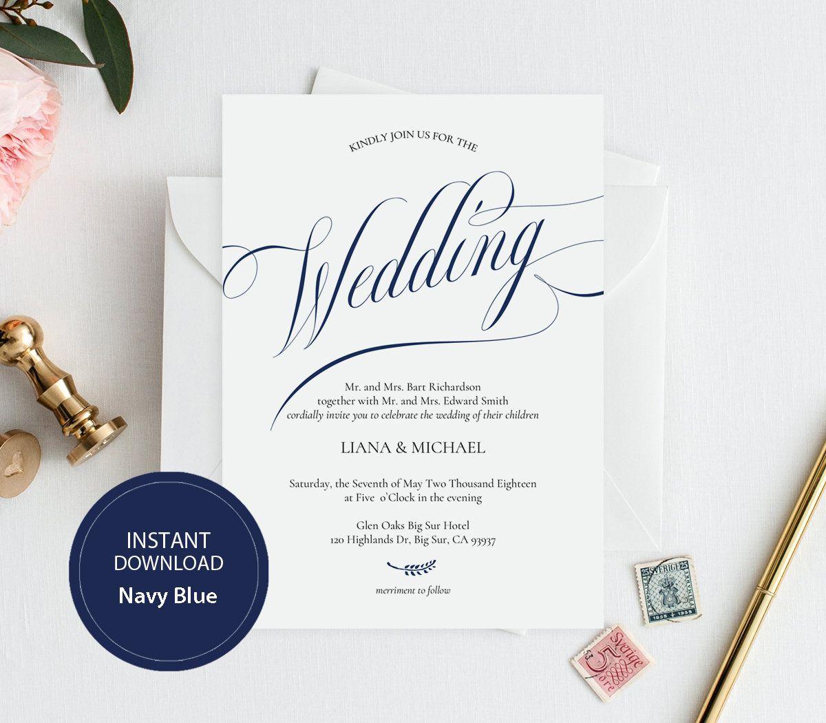 Modern Wedding Ceremony Songs: INSTANT DOWNLOAD PDF Template 5x7 Invitation Wedding