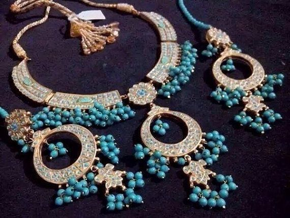 Indian bollywood jewellery Feroza Turquioise Pearl Bridal Set with Necklace and Earrings Pakistani