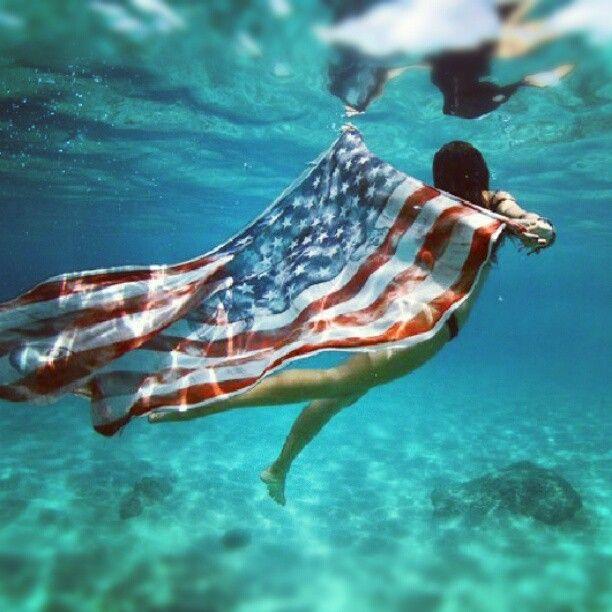 American Flag waving underwater photo | Surf photography