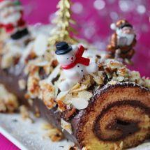 Bûche de Noël végane aux deux chocolats sur Recettes.net #fete #noel #cuisine #vegan #veggie #végétarian #végétarien #buche #chocolat #food