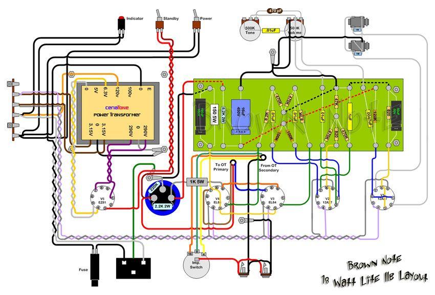 DIY 15 Watt ECL86PP amp   schematics in 2019   Diy amplifier, Guitar