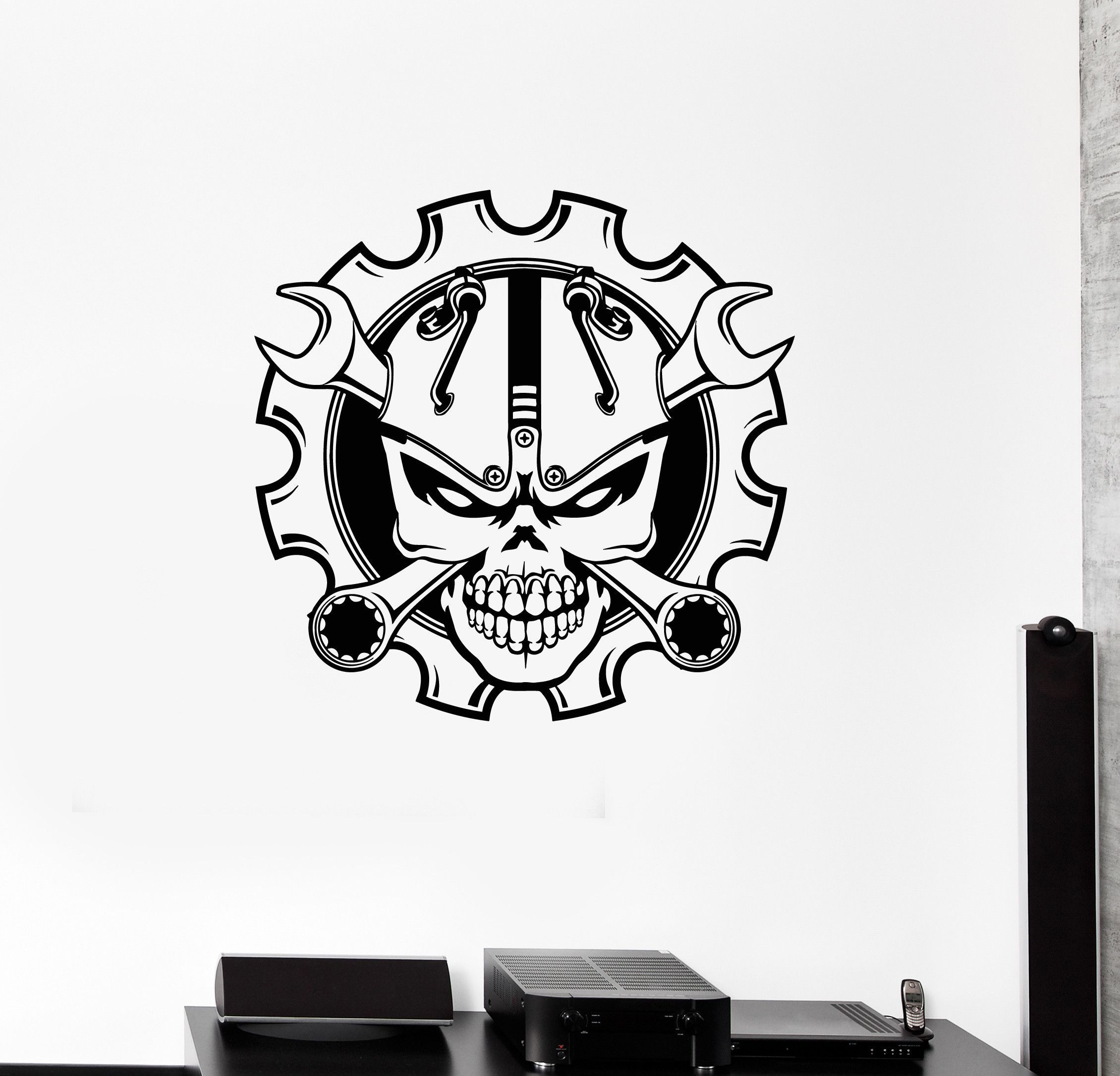 Vinyl wall decal skull wrench garage decorating idea car driver