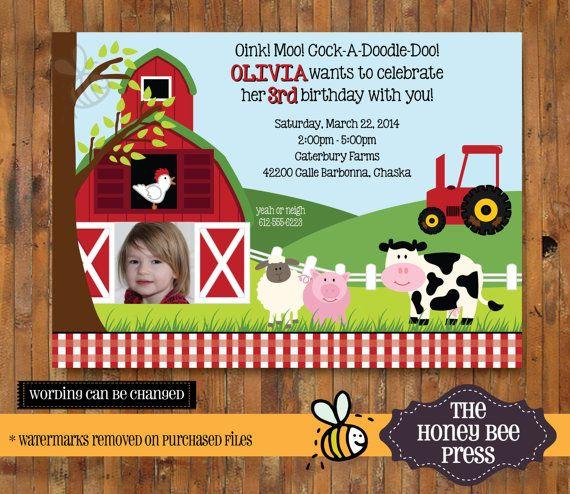 Farm Animal Birthday Invitation Barnyard by TheHoneyBeePress
