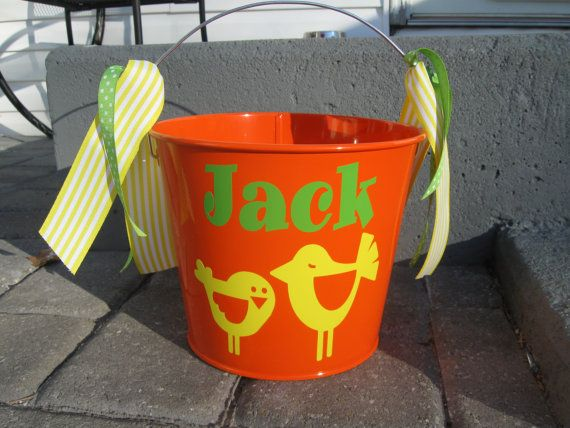 Easter bucket: 5 quart Personalized metal bucket by DeLaDesign