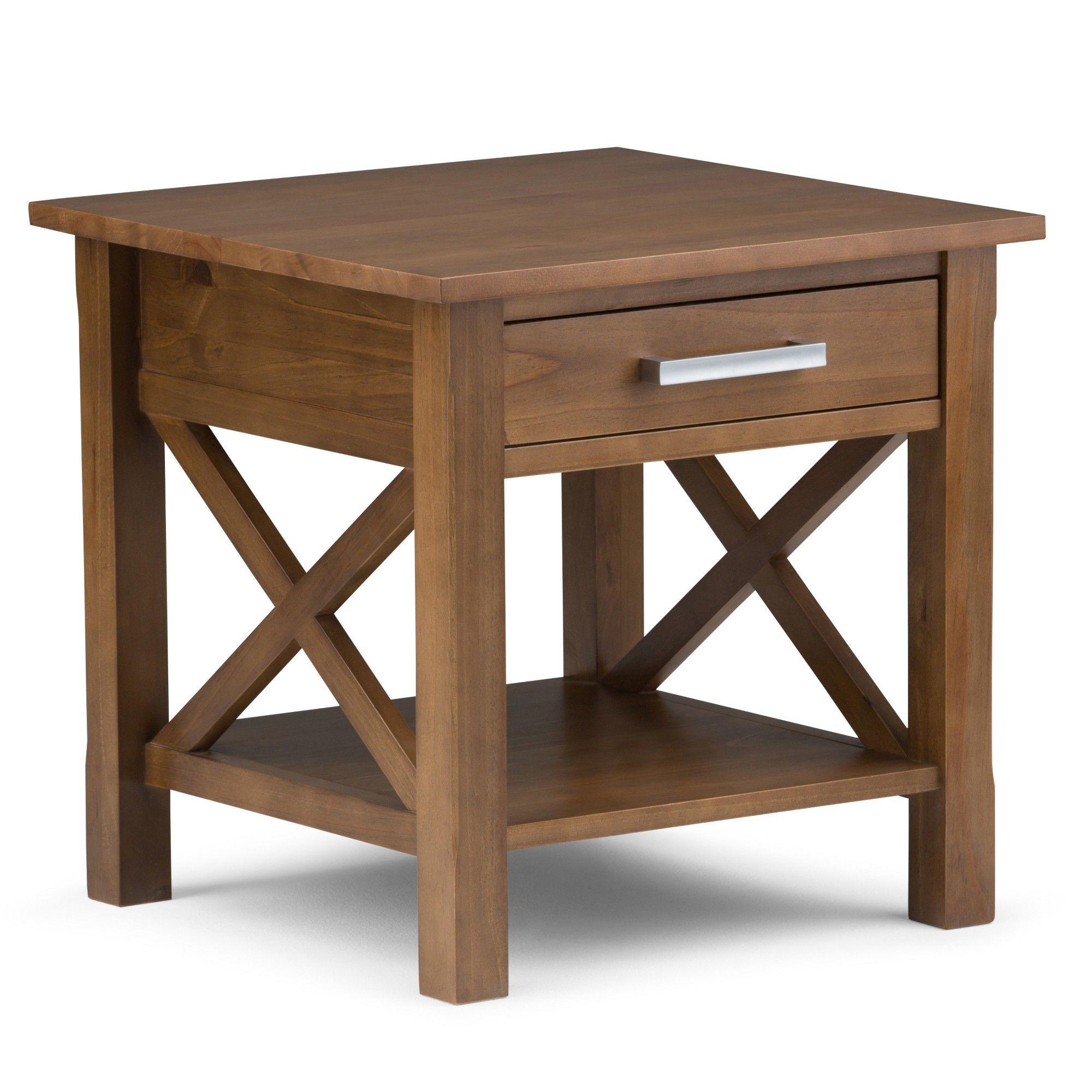 """21"""" Waterloo Solid Wood End Table Medium Saddle Brown"""
