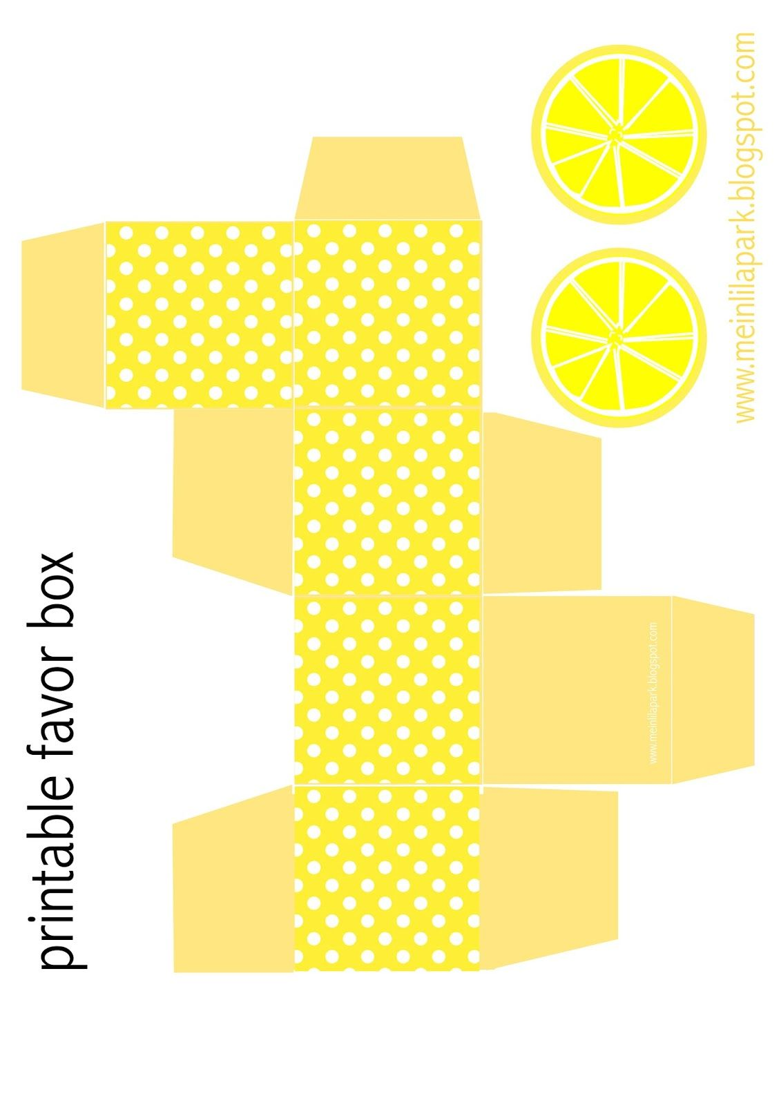 Free printable polka dot favor box with lemon tags - ausdruckbare ...