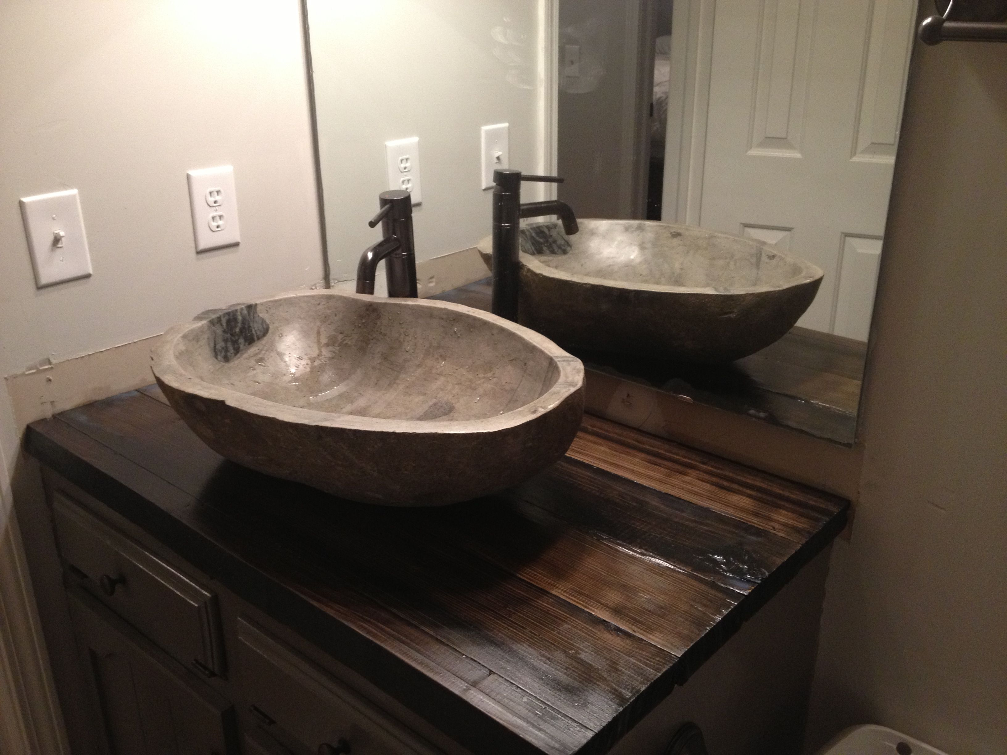 Stone Vessel sinks | Stone Vessel sinks real wood counter tops ...