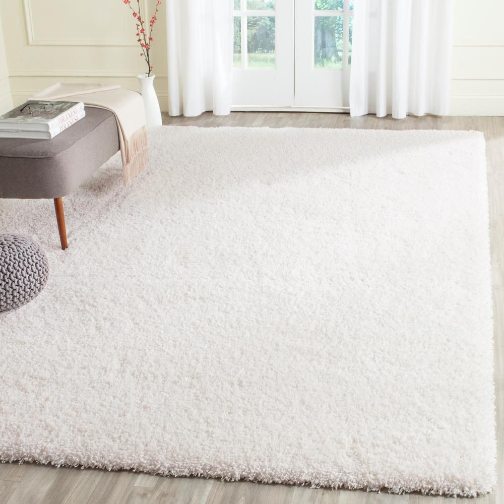 Safavieh California Shag White 8 Ft X 10 Ft Area Rug Sg151 1010 8 The Home Depot White Rug White Area Rug Solid Rugs