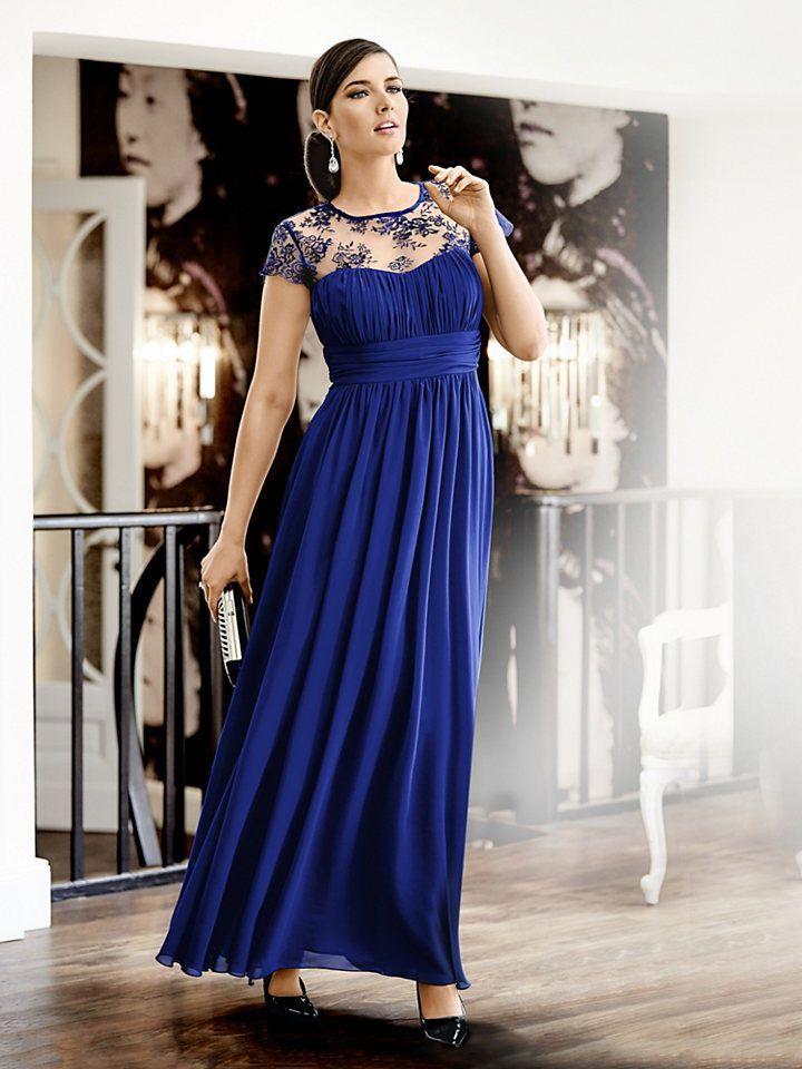 Kleid Abendkleid Cocktail Party Spitze G. M. Kretschmer royalblau Gr ...