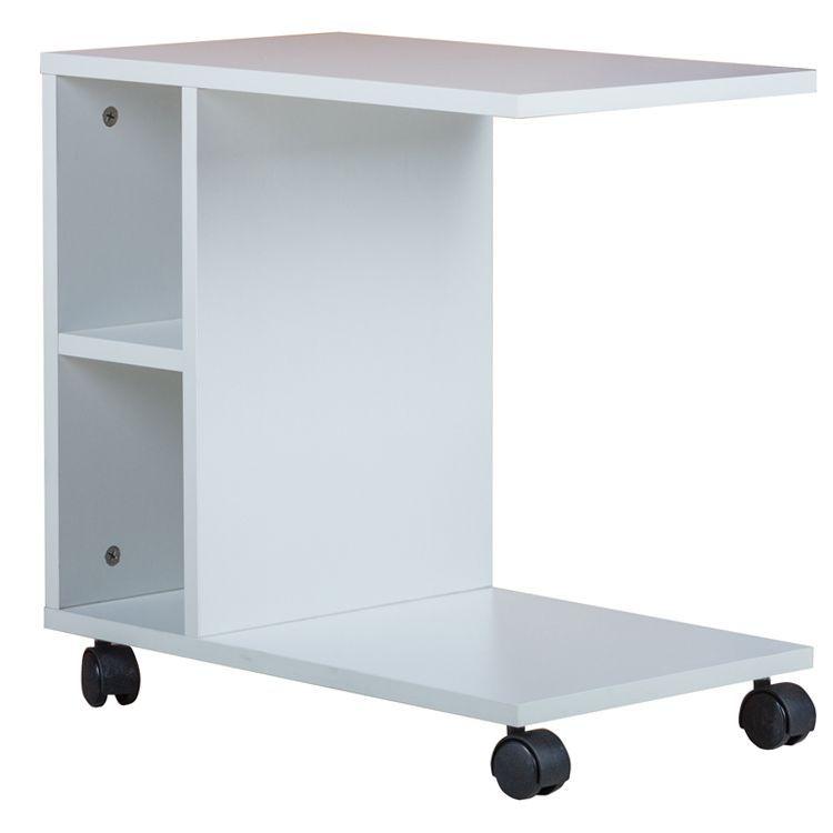 Porter Chipboard Side Coffee Table W Wheels White Side Coffee Table Coffee Table Space Saving Table