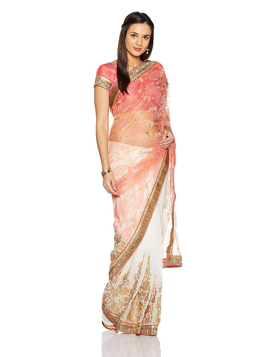 4888a47995ac6 Womanista Women s Faux Crepe   Georgette Sari With Blouse Piece(FS9036 Pink  and White Free Size)