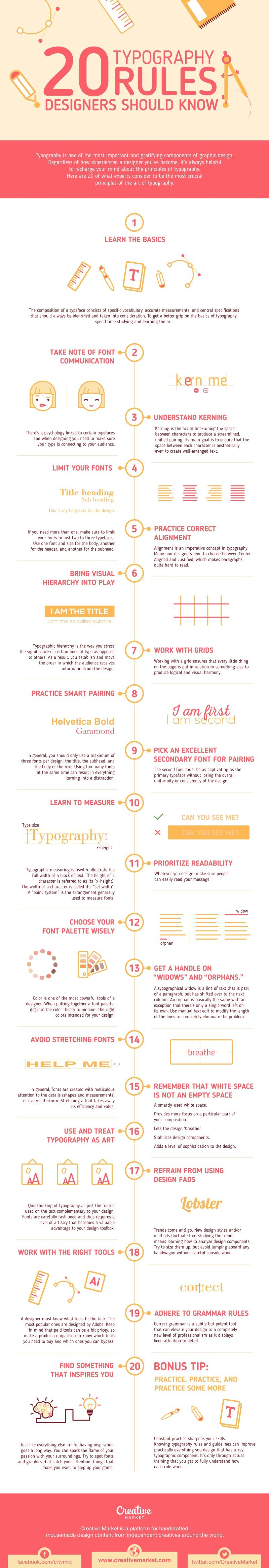 20 Typography Rules Every Designer Should Know #Infographic