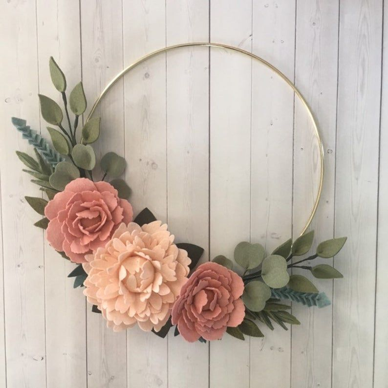 Photo of Felt flower wreath, floral wreath, floral wreath, blushing peony wreath, gold wreath, wedding photo wreath, baby shower gift