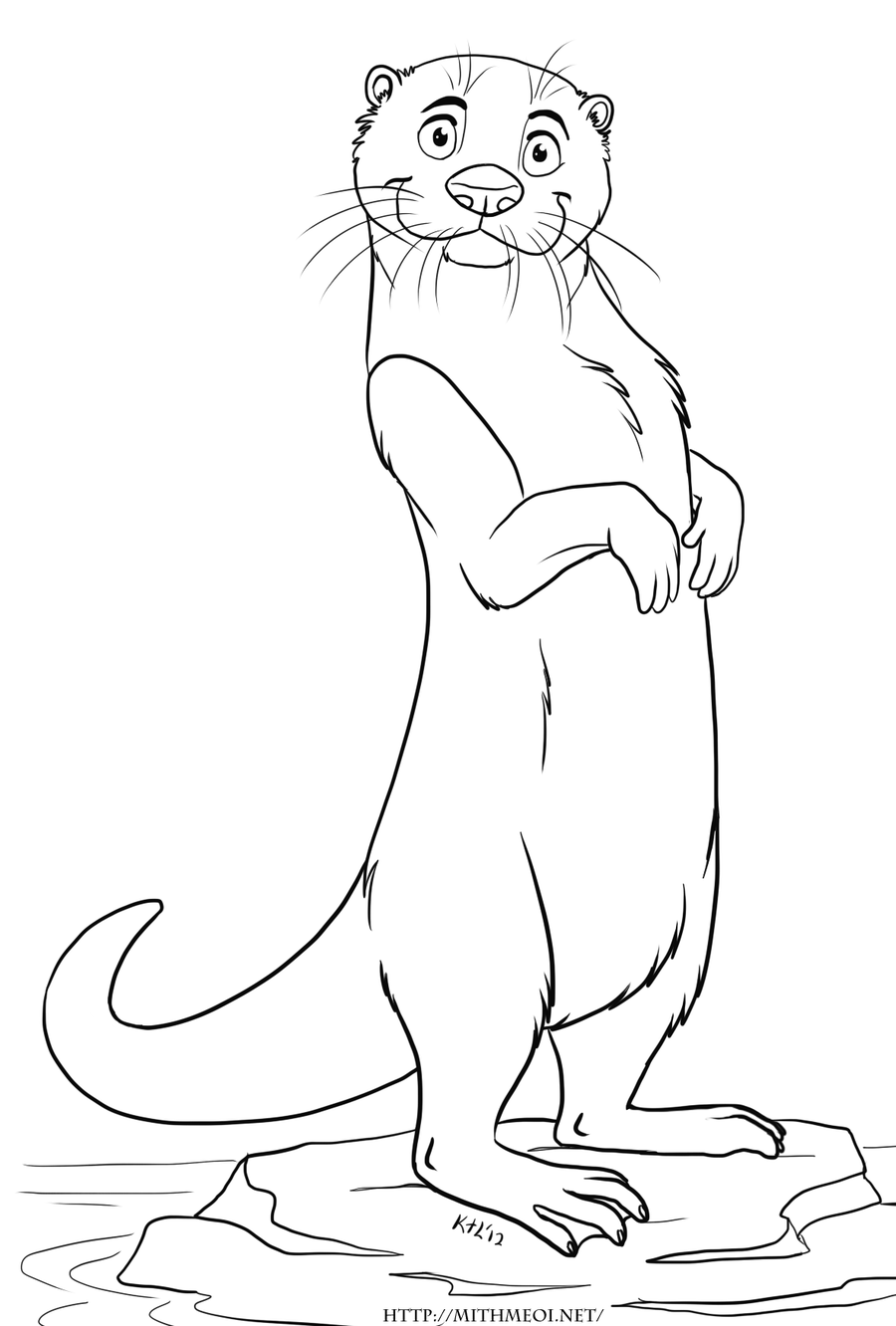 otter coloring pages otters meerkat sloth ferret