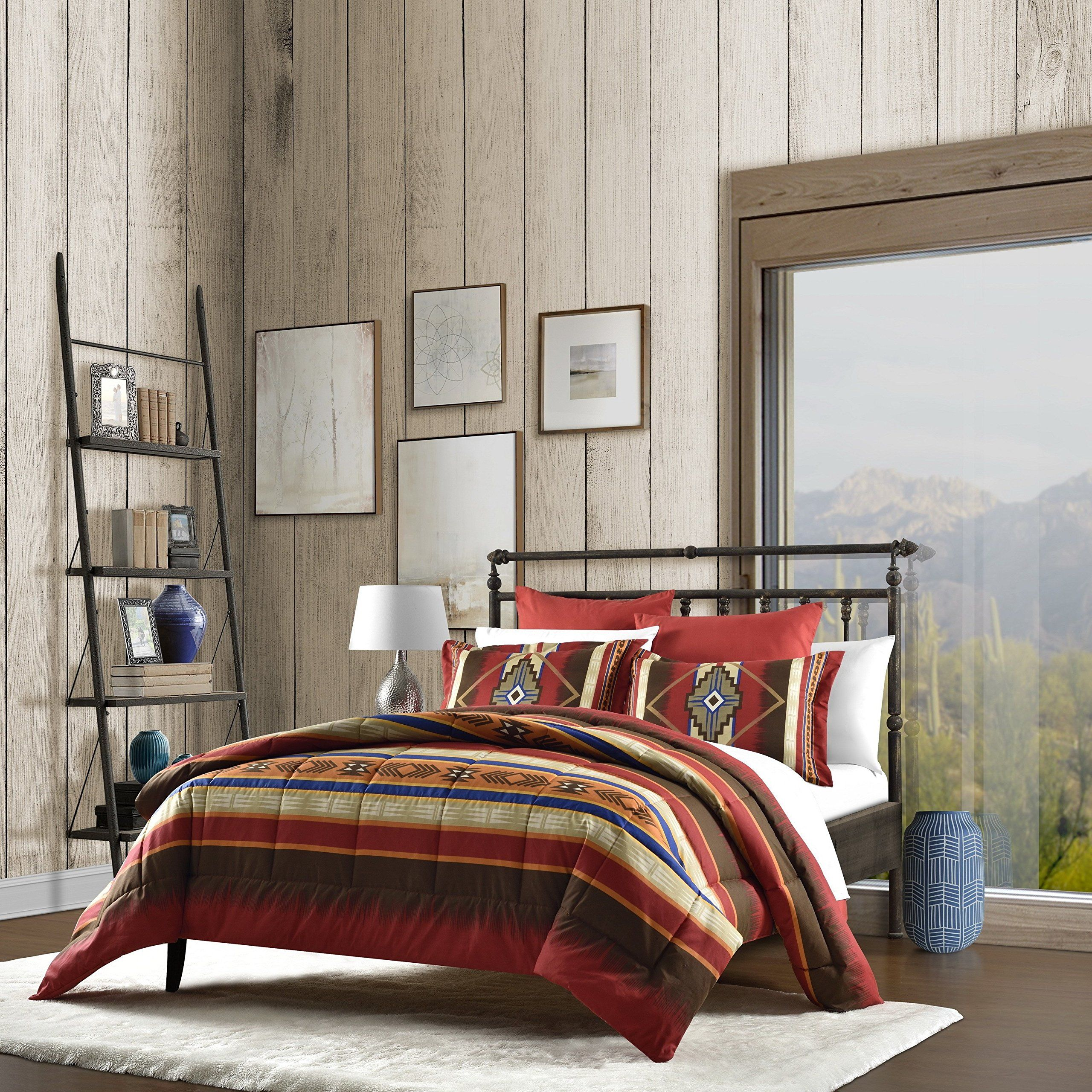 2 Piece Red Brown Yellow Blue Southwest Comforter Twin Set Native
