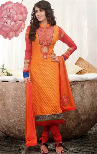 Picture of Wonderful Orange Party Wear Salwar Suit