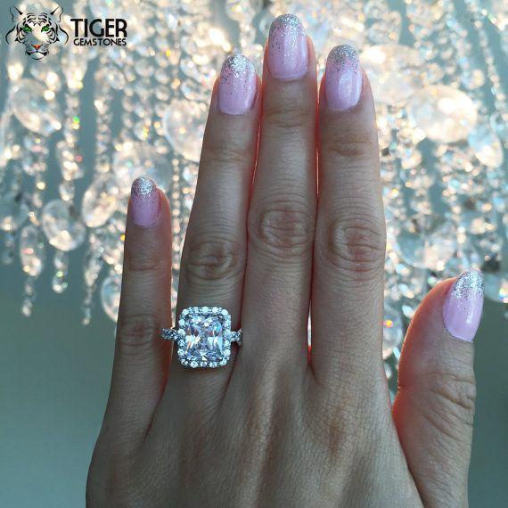 size 4 9 4 carat emerald radiant cut halo engagement ring man - Size 4 Wedding Rings