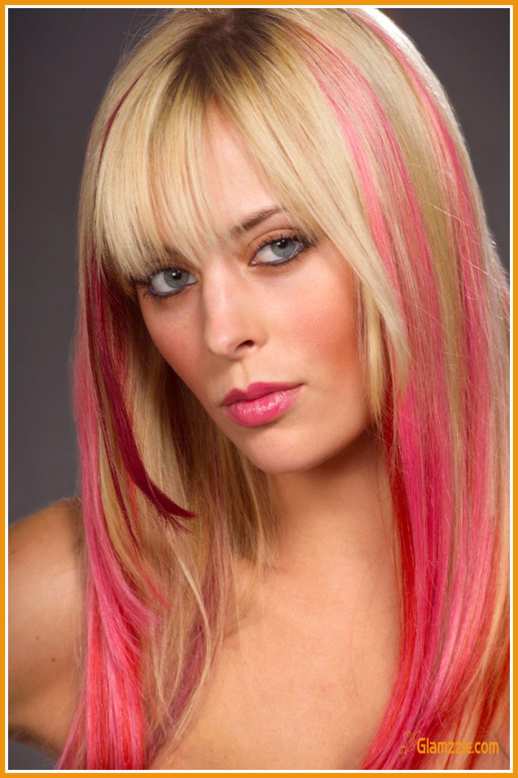 Pink Hair Streaks On Long Hair With Front Bangs Edgy Hair Color Pink Hair Extensions Edgy Hair